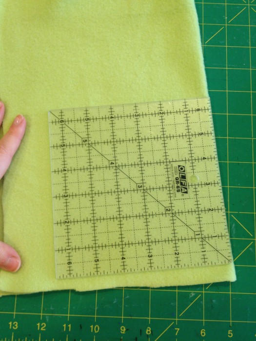 "fold your fabric and cut the 6"" square on the fold"